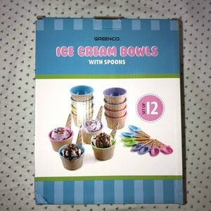 Ice cream cups and spoon set of 12